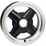 "Revolution 4-spoke Peg Drive for Lotus Elan 5x13"" Gloss Black with Polished Rim Edge fully laquered"